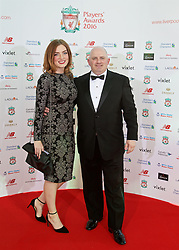 LIVERPOOL, ENGLAND - Thursday, May 12, 2016: Wayne Scholes of Red Touch Media and friend arrive on the red carpet for the Liverpool FC Players' Awards Dinner 2016 at the Liverpool Arena. (Pic by David Rawcliffe/Propaganda)