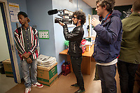 March 8, 2011 NEW YORK - Vice's production team filming a music video with the breaking new Brooklyn rapper, Joey BadA$$, for Noisey, Vice's new YouTube music channel. Cameraman Lautaro D'Amato and producer Jordan Redaelli, right....Photo by Robert Caplin.