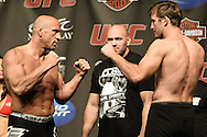 LAS VEGAS, NEVADA, JULY 10, 2009: Mark Coleman (left) and Stephan Bonnar face off during the weigh-in for UFC 100 inside the Mandalay Bay Events Center in Las Vegas, Nevada