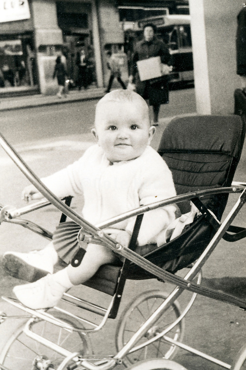 toddler in a stroller ca 1960s