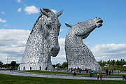 The Kelpies, built of structural steel in 2013, are the world's largest pair of equine sculptures. Towering 30 meters above the Forth & Clyde Canal, these two horse head artworks are a monumental tribute to the horse power heritage (pulling wagons, ploughs, barges and coalships) vital to early industrial Scotland. Scottish sculptor Andy Scott designed these twin 300-tonne feats of engineering. Visit the Kelpies in the Helix parkland project, Falkirk, Scotland, United Kingdom, Europe.