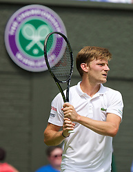 LONDON, ENGLAND - Monday, June 23, 2014: David Goffin (BEL) during the Gentlemen's Singles 1st Round match on day one of the Wimbledon Lawn Tennis Championships at the All England Lawn Tennis and Croquet Club. (Pic by David Rawcliffe/Propaganda)