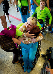 Mateja Pintar of Team Slovenia with her mother at arrival to Airport Joze Pucnik after the London 2012 Paralympic Games on September 10, 2012, in Brnik, Slovenia. (Photo by Vid Ponikvar / Sportida.com)