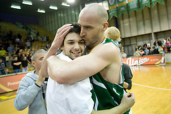 Saso Ozbolt and Marko Maravic of Union Olimpija celebrate at third finals basketball match of Slovenian Men UPC League between KK Union Olimpija and KK Helios Domzale, on June 2, 2009, in Arena Tivoli, Ljubljana, Slovenia. Union Olimpija won 69:58 and became Slovenian National Champion for the season 2008/2009. (Photo by Vid Ponikvar / Sportida)