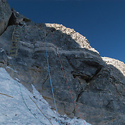 The Second Step headwall at 28,300 feet on the Northeast Ridge of Mount Everest, Tibet. The Second Step is considered the crux, or most difficult part, of the climb on the Northeast Ridge, and is a central point to the controversy of Mallory and Irvine's disappearance in 1924. The ladder was installed on the final bit by a Chinese expedition in 1975.