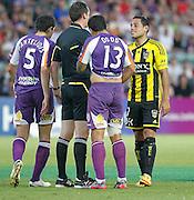 Wellington Phoenix's Leo Bertos is spoke to by the referee against  Perth Glory during the A-Leagues minor semi final held at nib Stadium, Perth, Australia on Saturday 7 April 2012. Photo Theron Kirkman / Photosport.co.nz