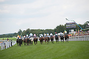 START OF THE FIRST RACE, , Glorious Goodwood. Sussex. 28 July 2010, -DO NOT ARCHIVE-© Copyright Photograph by Dafydd Jones. 248 Clapham Rd. London SW9 0PZ. Tel 0207 820 0771. www.dafjones.com.