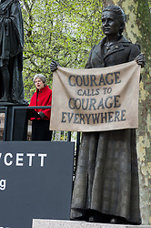 © Licensed to London News Pictures. 24/04/2018. London, UK. © Licensed to London News Pictures. 24/04/2018. London, UK. British Prime Minister THERESA MAY<br /> makes a speech at  the statue unveiling of the Suffragist leader Millicent Fawcett in Parliament Square. The Mayor of London commissioned Turner prize-winning artist GILLIAN WEARING OBE to create the statue. Photo credit: Ray Tang/LNP