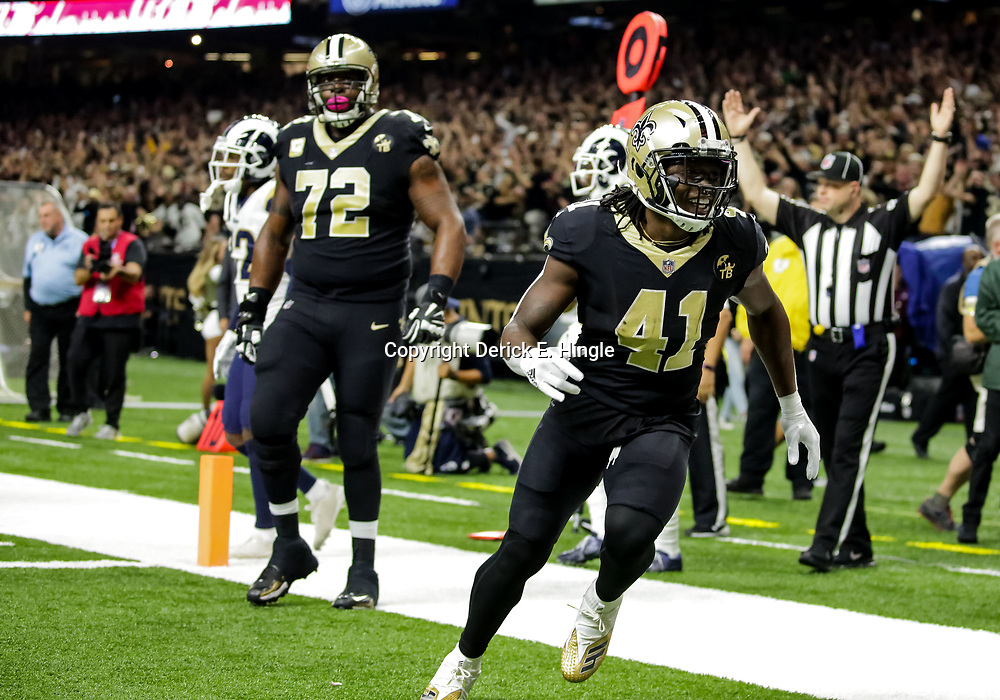 Nov 4, 2018; New Orleans, LA, USA; New Orleans Saints running back Alvin Kamara (41) celebrates after a touchdown against the Los Angeles Rams during the first quarter at the Mercedes-Benz Superdome. Mandatory Credit: Derick E. Hingle-USA TODAY Sports