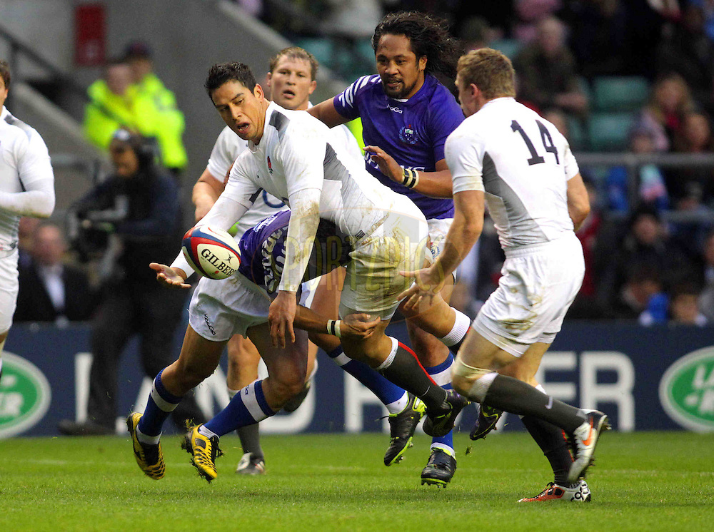 © SPORTZPICS / Seconds Left Images 2010 - England's Shontayne Hape  flicks a pass to England's Chris Ashton which unfortunately went forward  and the try opportunity was lost England v  Samoa  - Investec Challenge Series - 20/11/20110 - Twickenham Stadium  - London - All rights reserved..