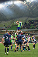Brad Thorn (Highlanders) catches a line out during the Round 17 match of the 2013 Super Rugby Championship between RaboDirect Rebels vs Highlanders at AAMI Park, Melbourne, Victoria, Australia. 12/07/0213. Photo By Lucas Wroe