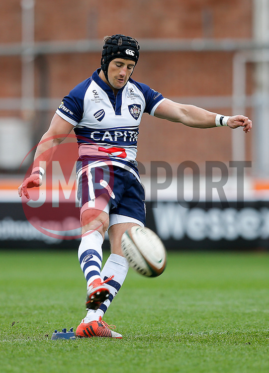 Bristol Rugby Fly-Half Matthew Morgan kicks a conversion - Photo mandatory by-line: Rogan Thomson/JMP - 07966 386802 - 29/03/2015 - SPORT - Rugby Union - Bristol, England - Ashton Gate Stadium - Bristol Rugby v Bedford Blues - Greene King IPA Championship.