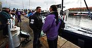 08NOV09 The Transat Jacques Vabre 2009. The start, Le Havre, France. Seb Josse talks to his shore crew before leaving the dock