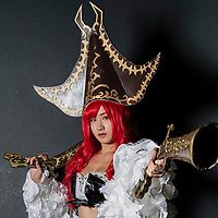 A cosplay participant dresses as Miss Fortune of 'league of legends' at the 19th Ani-Com and Games Fair 2017 at the Hong Kong Convention and Exhibition Centre on 28 July 2017. The annual fair showcases animation, comics, online games, electronic games and edition collectibles, and runs from 28 July to 1 August 2017 in Hong Kong, China. Photo by Yu Chun Christopher Wong / studioEAST