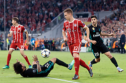 25.04.2018, Allianz Arena, München, GER, UEFA CL, FC Bayern Muenchen vs Real Madrid, Halbfinale, Hinspiel, im Bild Thomas Mueller (FC Bayern Muenchen), Marcelo ( Real Madrid #12 ), Joshua Kimmich (FC Bayern Muenchen), Marco Asensio ( Real Madrid) // during the UEFA Champions League Semifinal, 1st leg match between FC Bayern Muenchen and Real Madrid at the Allianz Arena in München, Germany on 2018/04/25. EXPA Pictures © 2018, PhotoCredit: EXPA/ Johann Groder