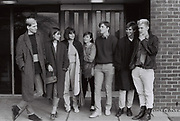 Group of students outside accommodation block, Essex, UK, 1983