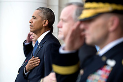 November 11, 2016 - Arlington, United States of America - U.S. President Barack Obama stands for the national anthem during Veterans Day at Arlington National Cemetery November 11, 2016 in Arlington, Virginia. (Credit Image: © Pete Souza/Planet Pix via ZUMA Wire)