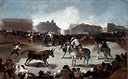A Village Bullfight', 1812-1814. Francisco Goya (1746-1828) Spanish painter and printmaker.   Bullfighting, a traditional spectator sport of Spain, Portugal, Southern France and parts of Latin America has roots in prehistoric worship of the bull.