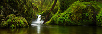Panoramic landscape photograph view of Punchbowl Falls along Eagle Creek in the Columbia River Gorge in Spring.