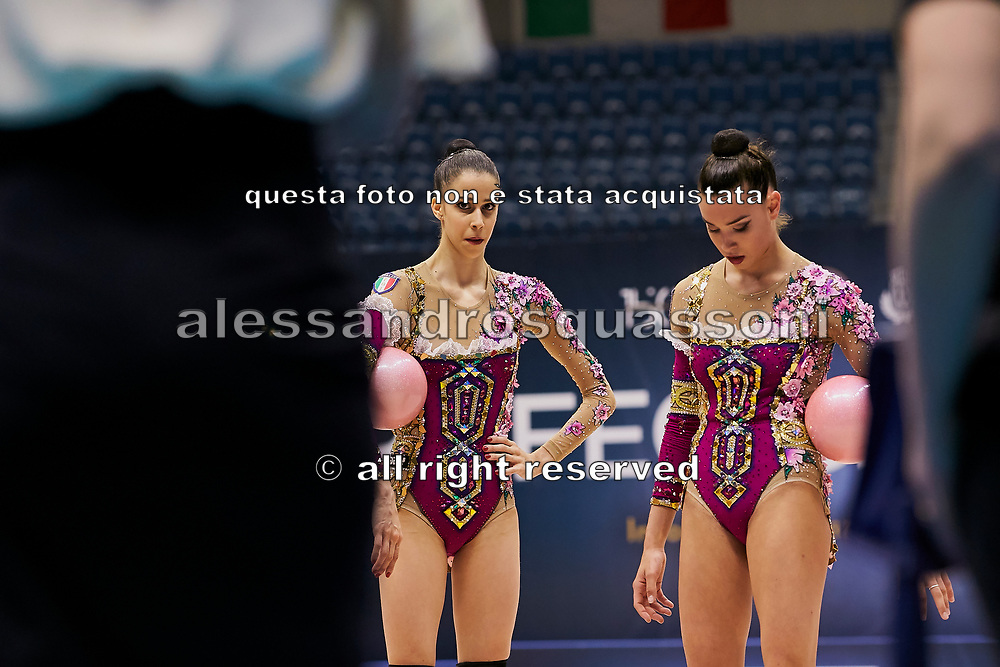 "Italian Senior Group during the ""1st Trofeo Citta di Monza"". On this occasion we have seen the rhythmic gymnastics teams of Belarus and Italy challenge each other. The Bilateral period was only June 9, 2019 at the Candy Arena in Monza, Italy."