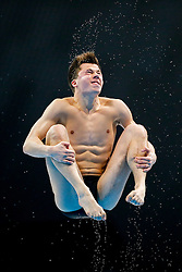 Freddie Woodward of Great Britain in action during the Mens 1m Springboard Final - Mandatory byline: Rogan Thomson/JMP - 10/05/2016 - DIVING - London Aquatics Centre - Stratford, London, England - LEN European Aquatics Championships 2016 Day 2.