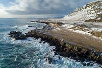 Streitishvarf aerial drone shot. East Iceland.