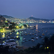 View of Acapulco bay at night from hotel balcony. Guerrero,Mexico.