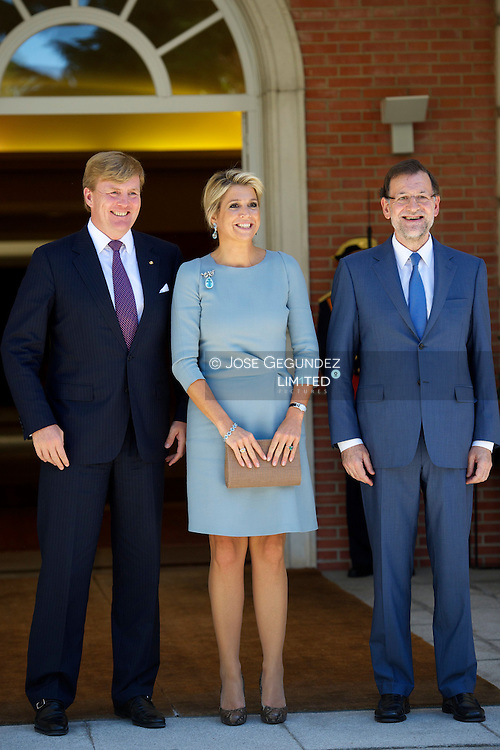 Mariano Rajoy, Prime Minister of Spain meets King Willem-Alexander and Queen Maxima at Zarzuela Palace during their visit to Spain on September 18, 2013 in Madrid