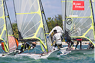 MIAMI, February 2, 2013 - Theater-style racing is designed to attract spectators, sponsors and the media to sailing, while keeping Olympic hopefuls at the top of their game.  At the ISAF World Cup, Jan 28-Feb 2, 2013 49ers did not disappoint, with expert boat handling, speedy spinnaker sets and close competition.