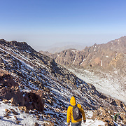 Toubkal national park, the peak whit 4,167m is the highest in the Atlas mountains and North Africa, trekker trail view. Morocco