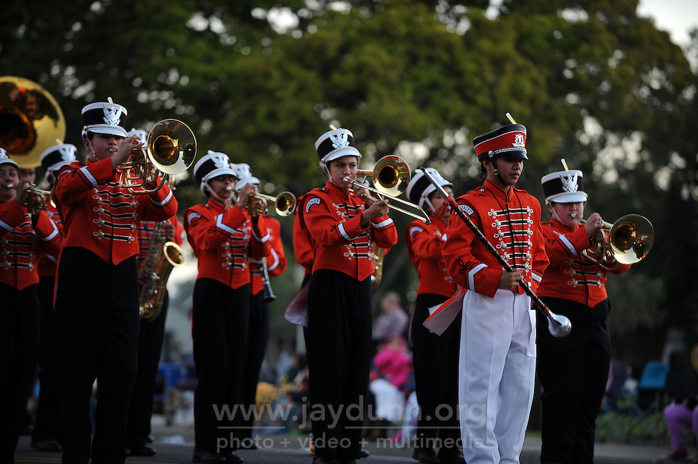 The Gonzalez High School marching band during a brief halt at Saturday's 2013 Colmo del Rodeo Parade in Salinas.