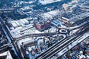 Nederland, Noord-Holland, Hilversum, 07-01-2010; Media Park en .Nederlands Instituut voor Beeld en Geluid in de winter en met sneeuw.luchtfoto (toeslag), aerial photo (additional fee required).foto/photo Siebe Swart