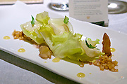 "Vienna, Austria. The ""Steirereck"" with award winning Chef Heinz Reitbauer Junior is probably Vienna's best restaurant.<br /> Endiviensalat mit Knollen-Sauerklee, Kräuterseitlingen & Persischen Limetten (Endive with Wood Sorrel Root, King Trumpet Mushrooms and Persian Lime.)"