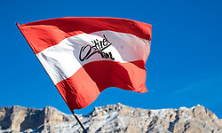 18.12.2016, Grand Risa, La Villa, ITA, FIS Ski Weltcup, Alta Badia, Riesenslalom, Herren, Riesenslalom, Herren, im Bild österreichische Flagge mit der Aufschrift Osttirol // Austrian Flag during the men's Giant Slalom of FIS Ski Alpine World Cup at the at the Grand Risa race Course in La Villa, Italy on 2016/12/18. EXPA Pictures © 2016, PhotoCredit: EXPA/ Johann Groder