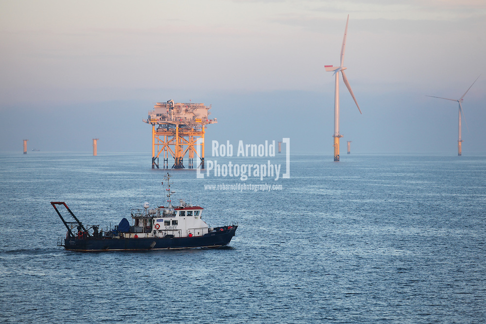 © Rob Arnold.  01/04/2014. North Wales, UK. Osiris Projects survey vessel, Chartwell, surveying on the Gwynt y Môr Offshore Wind Farm off the coast of North Wales. Photo credit : Rob Arnold