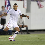 USA midfielder Jermaine Jones (13) kicks the ball during a CONCACAF Gold Cup soccer match between the United States and Panama on Saturday, June 11, 2011, at Raymond James Stadium in Tampa, Fla. (AP Photo/Alex Menendez)