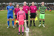 Mascot and officials during the EFL Sky Bet League 2 match between Forest Green Rovers and Notts County at the New Lawn, Forest Green, United Kingdom on 10 March 2018. Picture by Shane Healey.