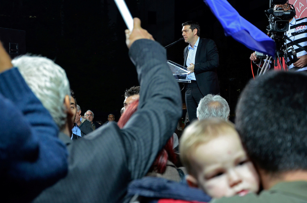 April 8th, 2014, Larissa, Thessaly region, Greece. Main opposition Radical Left Coalition (SYRIZA) leader Alexis Tsipras is giving a speech at the central square of Larissa.