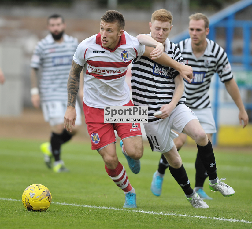 Ciaran McElroy (Queen's Park, black &amp; white) and Lee Hamilton (Stirling Albion, red &amp; white)<br /> <br /> Stirling Albion v Queen's Park, SPFL League 2, 26th September 2015<br /> <br /> (c) Alex Todd | SportPix.org.uk