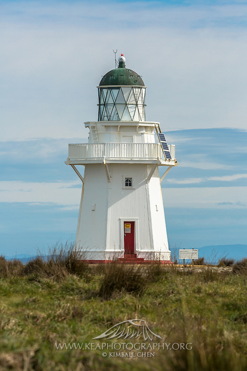 Historic lighthouse at Waipapa Point, Southland, New Zealand