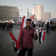 EGYPT, Cairo :   People celebrate in Tahrir Square on January 25, 2012, on the first anniversary of the country's revolt against the former regime of President Hosni Mubarak..