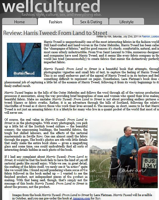 WELL CULTURED ON HARRIS TWEED PUBLICATION