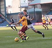 24th February 2018, Dens Park, Dundee, Scotland; Scottish Premier League football, Dundee versus Motherwell; Richard Tait of Motherwell and Mark O'Hara of Dundee
