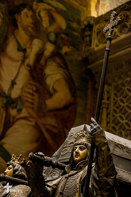 The tomb of Spanish explorer Christopher Columbus at the Seville Cathedral on Monday, Nov. 7, 2016, in Seville, Spain.  LCMS Communications/Erik M. Lunsford