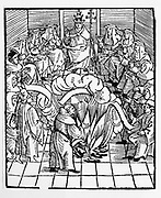 Pope Leo X supervising the burning of Martin Luther's books after the first Diet of Worms - 1521. Woodcut.