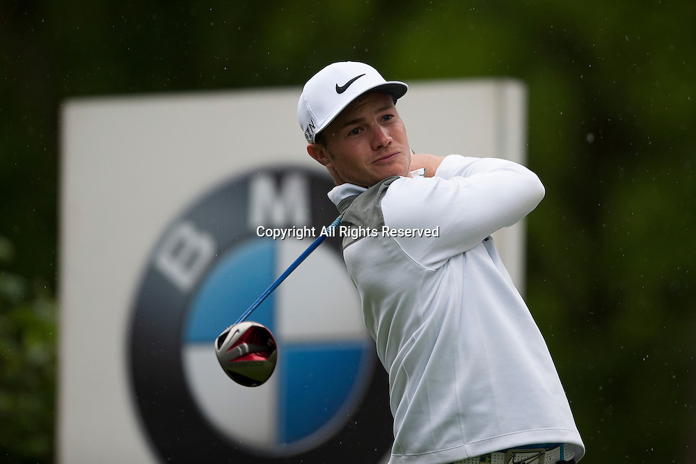23.05.2014. Wentworth, England.  Oliver FISHER [ENG] tees off during the second round of the 2014 BMW PGA Championship from The West Course Wentworth Golf Club