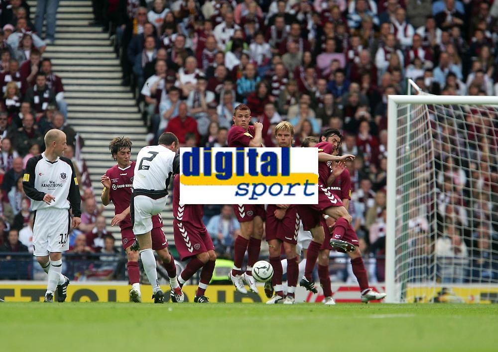 Photo: Andrew Unwin.<br /> Hearts v Gretna. Tennants Scottish Cup Final. 13/05/2006.<br /> Gretna's Mark Birch (#2) fires his free-kick at the Hearts wall.