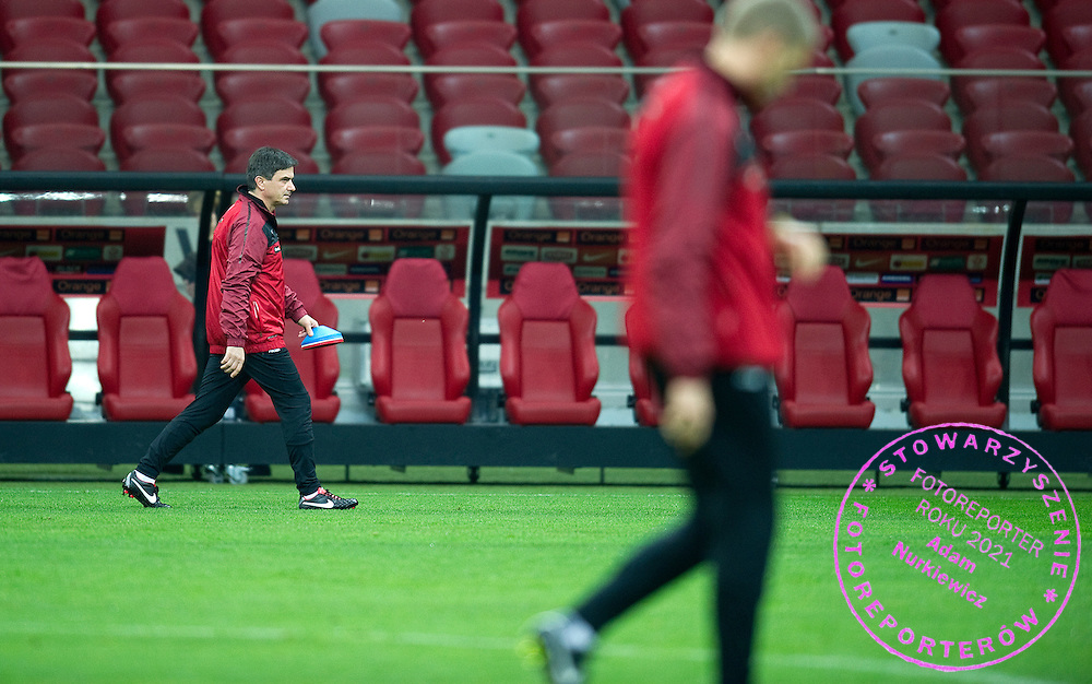 (L) Poland's trainer coach Waldemar Fornalik during training session one day before the 2014 World Cup Qualifying Group H football match between Poland and England at National Stadium in Warsaw on October 15, 2012...Poland, Warsaw, October 15, 2012..Picture also available in RAW (NEF) or TIFF format on special request...For editorial use only. Any commercial or promotional use requires permission...Photo by © Adam Nurkiewicz / Mediasport