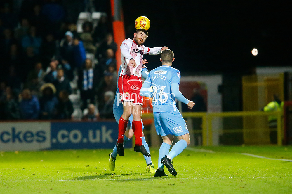 Stevenage's forward Danny Newton heads the ball during the EFL Sky Bet League 2 match between Stevenage and Coventry City at the Lamex Stadium, Stevenage, England on 21 November 2017. Photo by Matt Bristow.