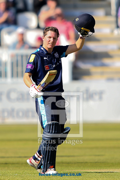 Gary Ballance of Yorkshire Vikings acknowledges the applause on reaching his century during the Royal London One Day Cup match at the County Ground, Northampton<br /> Picture by Andy Kearns/Focus Images Ltd 0781 864 4264<br /> 10/05/2017